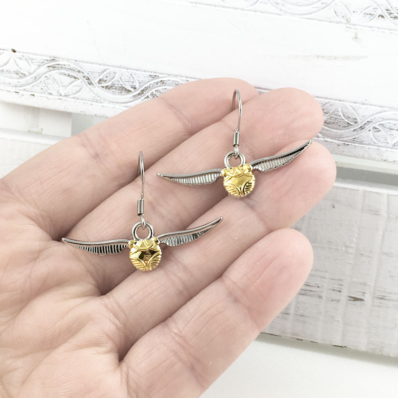 Harry Potter Golden Snitch Dangle Earrings - product images  of