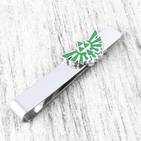 Legend,of,Zelda,Hyrule,Tie,Clip,legend of zelda, hyrule, triforce, tie clip, tie bar, tie pin, green, gamer, geek, wedding, hylian crest, hylean