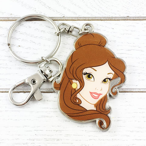 Beauty,and,the,Beast,Belle,Metal,Keychain,beauty and the beast, keychain, belle, enamel, metal, colour, color, key chain, keyring