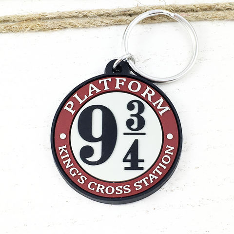 Platform,9-3/4,Keychain,,soft-touch,,Harry,Potter,harry potter, keychain, key ring, platform 9-3/4, train platform, plastic