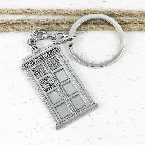 Police,Box,Keychain,,inspired,by,Doctor,Who,and,the,TARDIS,police box, keychain, keyring, tardis, doctor who, dr who, geeky, nerdy, silver pewter, classic, retro, black and white