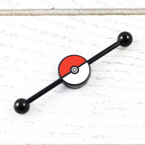 Pokéball,Industrial,Ear,Barbell,pokeball, pokemon, pokemon go, industrial, ear barbell, body piercing, geeky