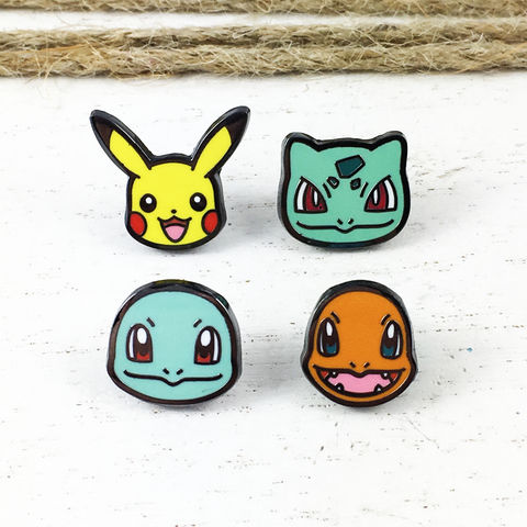 Starter,Pokémon,Mini,Enamel,Pin,Set,pokemon, enamel pins, lapel pin, pin set, starter pokemon, pikachu, squirtle, bulbasaur, charmander, colour, color, pokemon go, gamer, geeky