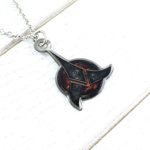 Star,Trek,Klingon,Necklace,star trek, klingon, necklace, pendant, color, stainless steel, trekkie, klingon symbol, trefoil