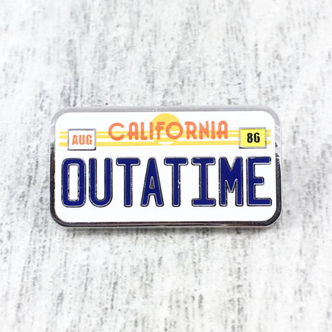 California,OUTATIME,License,Plate,Enamel,Pin,outatime, enamel pin, back to the future, bttf, delorean license plate, california outatime, lapel pin, geeky, 80s