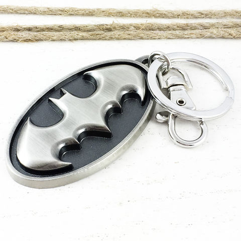 Batman,Pewter,Keychain,batman, keychain, black, bat symbol, key chain, keyring, retro, comic books, geeky, super hero