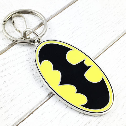 Batman,Classic,Yellow,Keychain,batman, keychain, yellow, bat symbol, key chain, keyring, retro, comic books, geeky, super hero