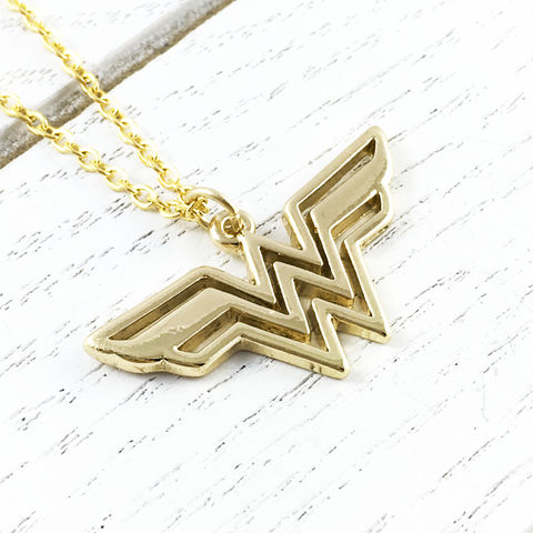 Wonder,Woman,Necklace,wonder woman, necklace, pendant, charm, gold, stainless steel, comic books, geeky, girly