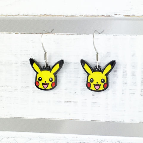 Pokémon,Pikachu,Dangle,Earrings,pikachu, earrings, dangle, drop, stainless steel, surgical steel, 316l, pokemon, small, official, geeky, nerdy girl