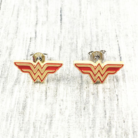 Wonder,Woman,Stud,Earrings,wonder woman, earrings, studs, men's, mens, gold, stainless steel, surgical steel, geeky, comic books
