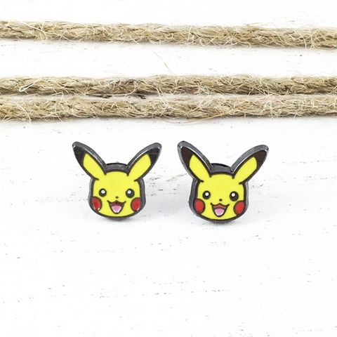 Pikachu,Stud,Earrings,pikachu, pokémon, earrings, studs, stud earrings, mens, yellow, geeky jewelry, pokemon go, geek chic