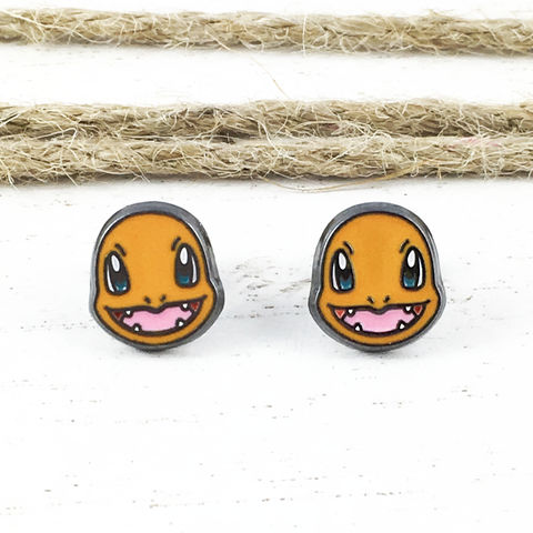 Pokémon,Charmander,Stud,Earrings,pokemon, earrings, studs, mens, charmander, fire, team red, pokemon go, geeky