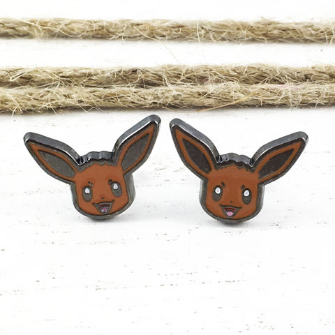 Pokémon,Eevee,Stud,Earrings,eevee, pokémon, earrings, studs, stainless steel, 316L, pokemon go, geeky, nerdy