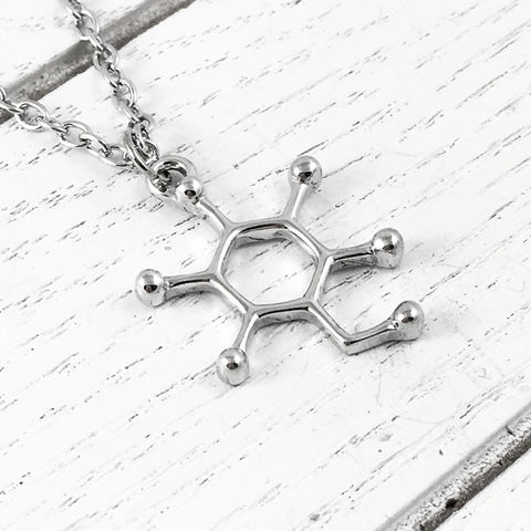Sugar,Molecule,Necklace,molecule necklace, sugar, glucose, science, molecular structure, silver, chemistry, geek