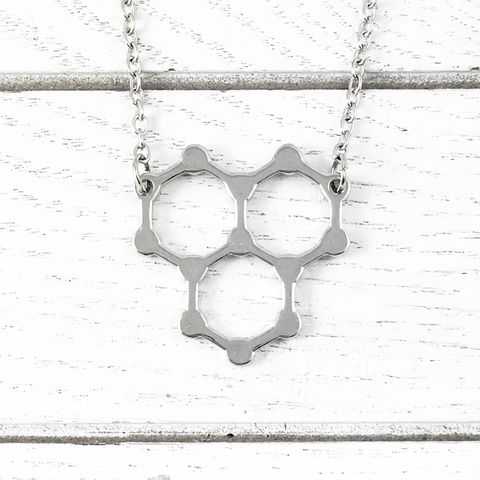 Water,Molecule,Necklace,molecule necklace, water, h2o, science, molecular structure, silver, chemistry, geek