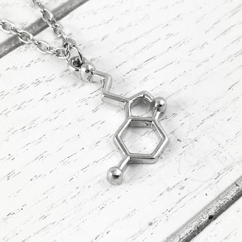 Serotonin,Molecule,Necklace,molecule necklace, serotonin, antidepressant, chemical, neurotransmitter, science, molecular structure, silver, chemistry, geek