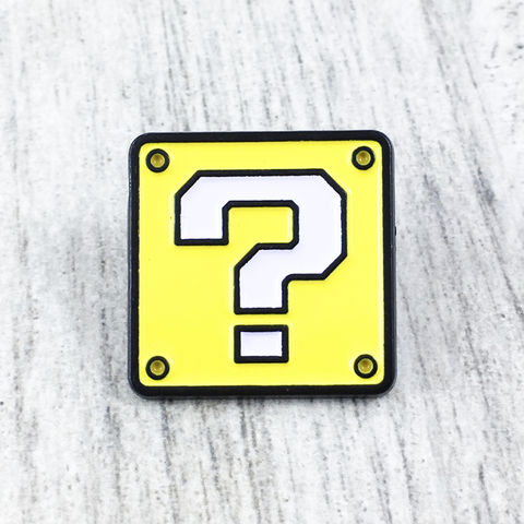 Mario,Mystery,Block,Enamel,Pin,super mario, mystery, block, box, brick, question, yellow, enamel pin, lapel pin, hat pin, metal pin, gamer, geek