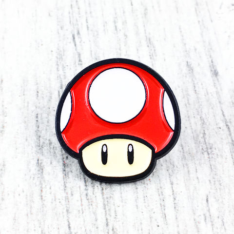 Super,Mario,Red,Mushroom,Enamel,Pin,super mario, red, super mushroom, mushroom, toad, power up, enamel pin, lapel pin, hat pin, metal pin