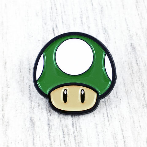 Mario,1UP,Mushroom,Enamel,Pin,super mario, 1up, 1-up, 1 up, green, mushroom, toad, power up, enamel pin, lapel pin, hat pin, metal pin