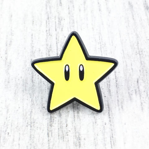 Mario,Starman,Enamel,Pin,super mario, starman, star, power up, super star, yellow, enamel pin, lapel pin, hat pin, metal pin