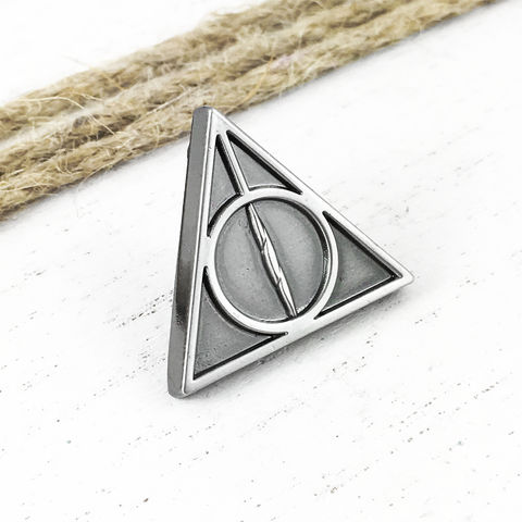 Harry,Potter,Deathly,Hallows,Pewter,Pin,harry potter, deathly hallows, lapel pin, pendant, pewter, black, silver, solid, potterhead