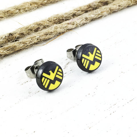 Agents,of,Shield,Stud,Earrings,agents of shield, earrings, studs, stud earrings, stainless steel, shield logo, comics, comic book, geek