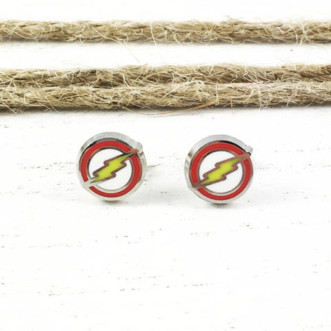 Flash,Stud,Earrings,the flash, studs, stud earrings, mens, men's, comic books, flash tv series, flash symbol, flash logo, super hero, geeky jewelry
