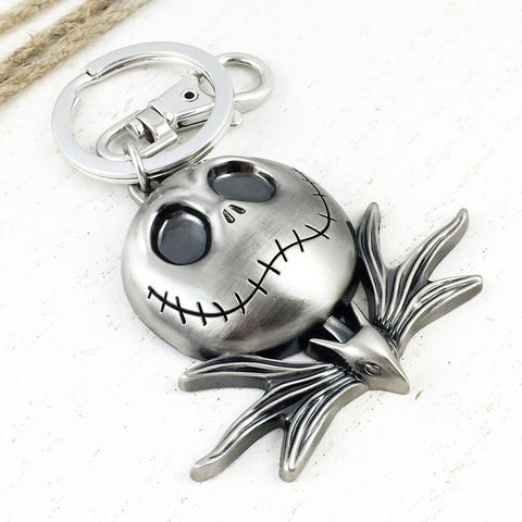 Jack,Skellington,Pewter,Keychain,jack skellington, face, keychain, key chain, keyring, pumpkin king, nightmare before christmas, jack skeleton, pewter
