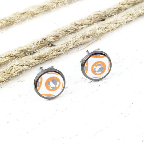 Star,Wars,BB8,Stud,Earrings,star wars, bb8, bb-8, studs, mens, surgical steel, force awakens, droid, stainless steel, earrings, geeky jewelry