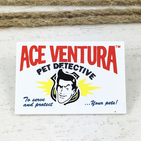 Ace,Ventura:,Pet,Detective,Card,Enamel,Pin,ace ventura, pet detective, enamel pin, calling card, business card, retro, classic movies, jim carrey