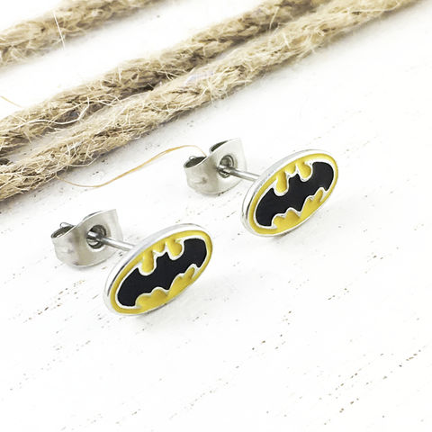Batman,Yellow,Stud,Earrings,batman, earrings, studs, mens, stainless steel, yellow, bat symbol, bat signal, geeky, jewelry