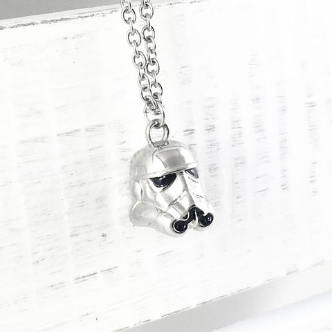 Star,Wars,Classic,Stormtrooper,Necklace,star wars, necklace, stormtrooper, storm trooper, helmet, clone trooper, stainless steel, surgical steel, pendant, 3D, silver, classic, geeky, geek chic