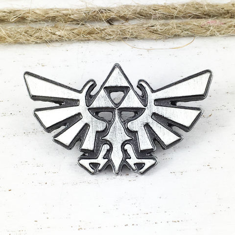 Hyrule,Crest,Pewter,Pin,legend of zelda, hyrule, crest, triforce, silver, pin, lapel pin, hat pin, brooch, gamer geek
