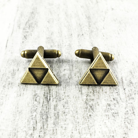 Bronze,Triangle,Cuff,Links,inspired,by,Triforce,Zelda,triforce cuff links, triforce cufflinks, legend of zelda, mens, bronze, antique gold, triangle, gamer, geek, video game, geek wedding accessories