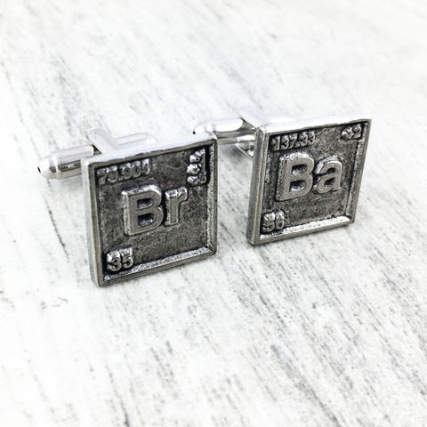 Bromine/Barium,Periodic,Table,Cuff,Links,breaking bad, cuff links, pewter, charm, br, ba, chemical symbols, set, geek, science, chemistry, math, silver, bromine, barium, periodic table, chemical elements, wedding