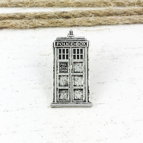 Police,Box,Pewter,Lapel,Pin,tardis, pin, lapel pin, tie pin, tie tac, tie tack, doctor who, dr who, whovian, police box, silver, pewter, phone box, blue box, brooch, police public call box