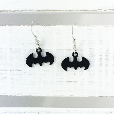 Batman,Black,Dangle,Earrings,batman, earrings, dangle, drop, black, subtle, classy, geek chic, comic geek, comic book jewelry, surgical steel, 316l, stainless steel