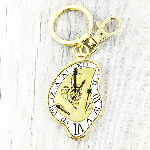 Alice,Through,the,Looking,Glass,Keychain,alice in wonderland, through the looking glass, movie, modern, golden, clock, time, steampunk, tim burton