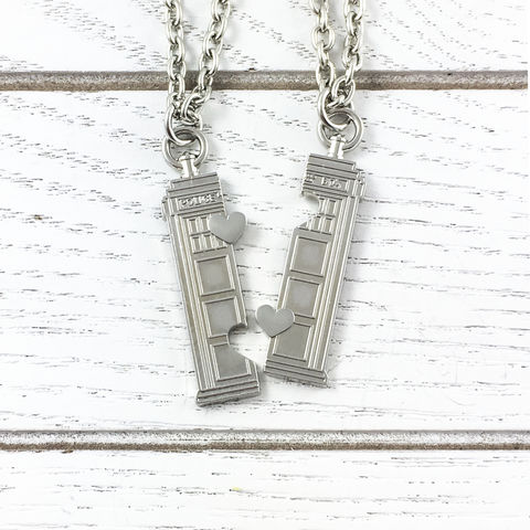 Doctor,Who,Tardis,Friendship,Necklace,Set,doctor who, tardis, friendship necklace, neckalce set, pendant, silver, couples necklaces, whovian, gift, nerdy, geeky