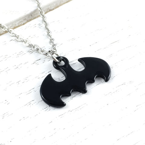 Batman,Classic,Black,Necklace,batman, necklace, pendant, black, silver, comics, geek, nerdy, small, 316l, stainless steel, classic, subtle