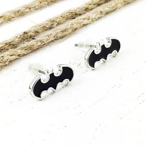 Batman,Stud,Earrings,,black,batman, earrings, studs, men's, bat symbol, black, comics, comic book nerd, geek, classic