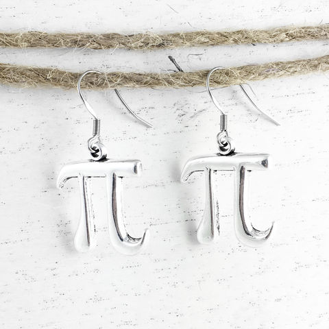 Pi,Symbol,Earrings,Pi earrings, dangle, pie, math, silver, science, geek, nerdy, geek chic, 3.14, pi day, small