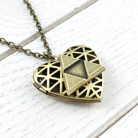 Triangles,and,Hearts,Locket,triforce, necklace, locket, legend of zelda, bronze, heart, charm, triangle, gamer, geeky, geek chic, geeky valentine