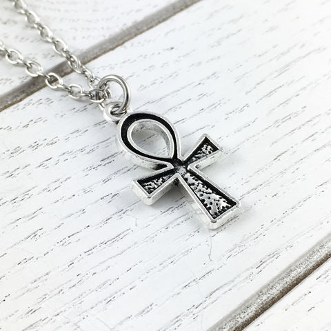 Ankh,Necklace,ankh, necklace, small, mini, little, silver, pendant, death, sandman, hieroglyph, ancient egypt, clé de vie, clef de vie