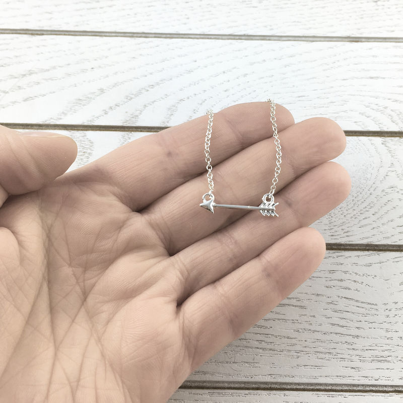 Little Silver Arrow Necklace, charm pendant small horizontal - product images  of