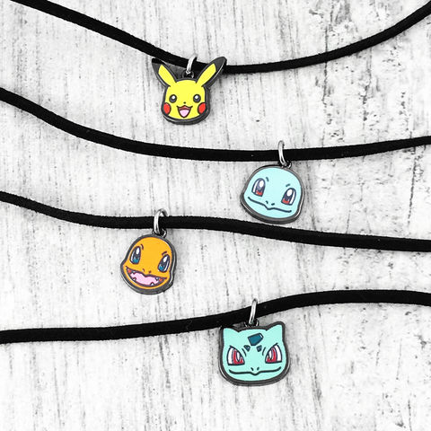 Pokémon,Mini,Choker,Necklaces,Pokemon, choker, necklace, pikachu, charmander, squirtle, bulbasaur, mini, enamel, small, dainty, delicate, short necklace, kids, pokemon, pokémon, pokemon go