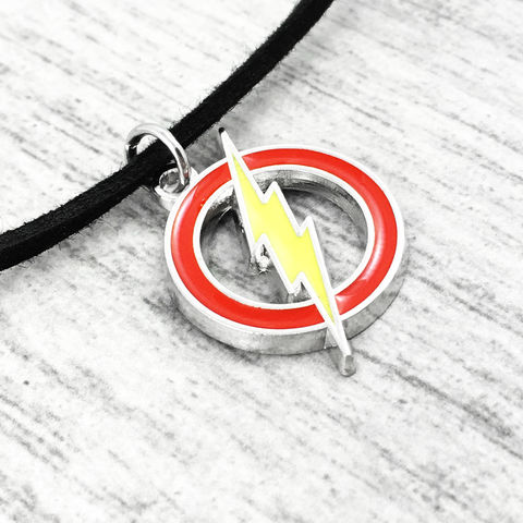 The,Flash,Choker,Necklace,the flash, justice league, choker, necklace, pendant, stainless steel, geeky, comic book, girly, enamel