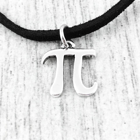 Pi,Symbol,Choker,Necklace,math, pi, symbol, choker, necklace, pendant, mini, small, short, kids, math geek, physics, silver