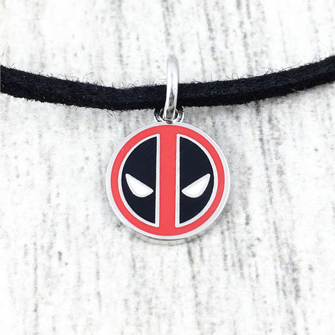 Deadpool,Small,Pendant,Choker,Necklace,deadpool, choker, necklace, pendant, small, stainless steel, girls, short necklace, black, red, ename