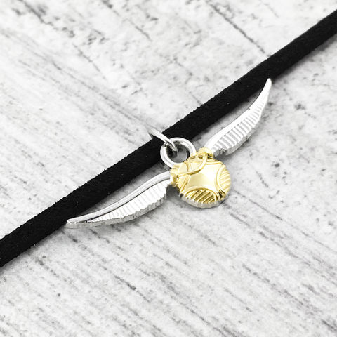 Harry,Potter,Golden,Snitch,Choker,Necklace,golden snitch, choker, necklace, harry potter, quidditch, charm, pendant, short, geeky, winged ball, flying ball, gold ball with wings